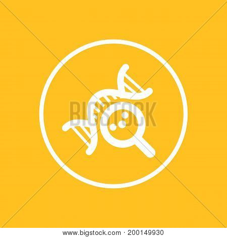 dna research icon in circle, genetic study symbol, vector illustration, eps 10 file, easy to edit