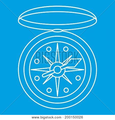 Compass icon blue outline style isolated vector illustration. Thin line sign