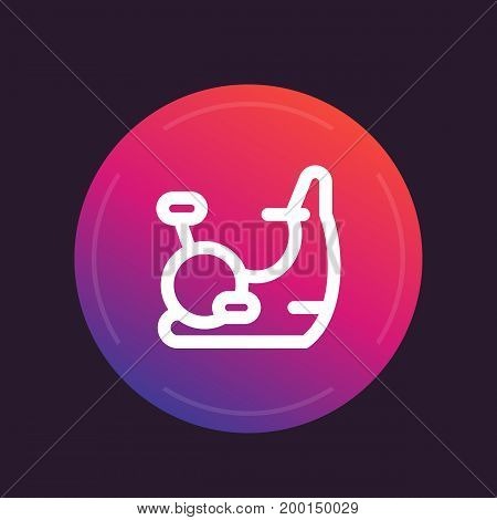 exercise bike icon in line style, round pictogram