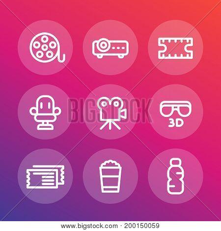 cinema line icons set, film reel, projector, 3d movie, tickets, seat, popcorn bucket, vector illustration