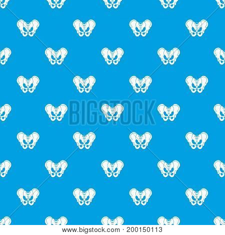 Pelvis pattern repeat seamless in blue color for any design. Vector geometric illustration