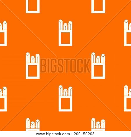 Chalks in carton box pattern repeat seamless in orange color for any design. Vector geometric illustration