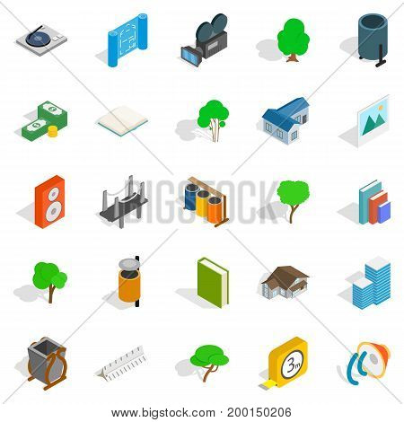 Cozy places icons set. Isometric set of 25 cozy places vector icons for web isolated on white background