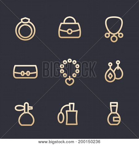 accessories, jewelry, perfume vector icons set in linear style