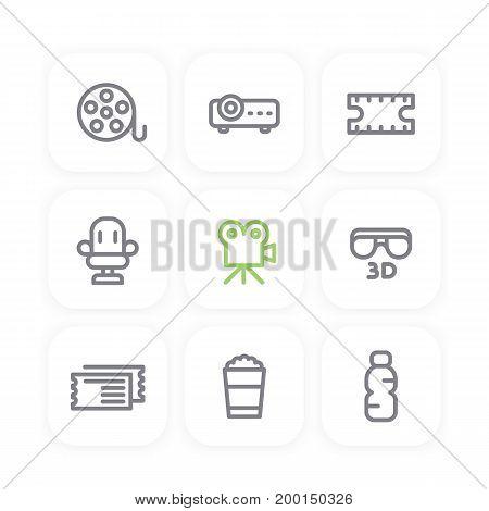 cinema line icons set, film reel, projector, 3d movie, tickets, popcorn bucket