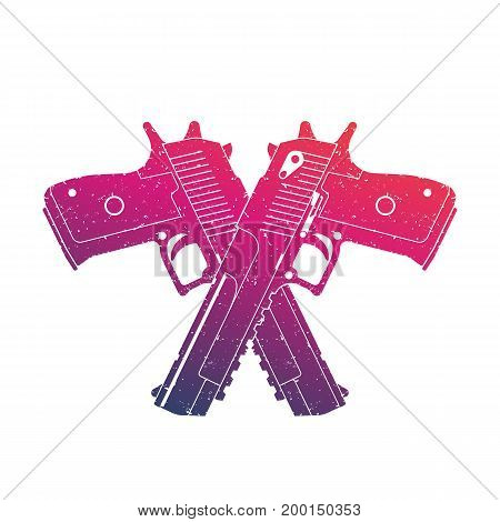 crossed powerful pistols, two handguns on white, eps 10 file, easy to edit