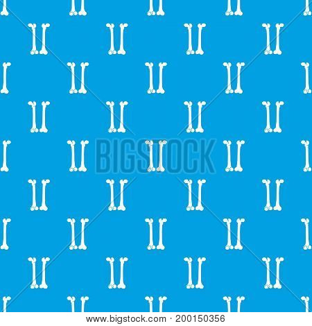 Bone pattern repeat seamless in blue color for any design. Vector geometric illustration