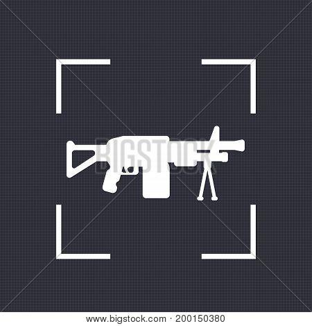 Machine gun icon, automatic firearm vector silhouette, eps 10 file, easy to edit