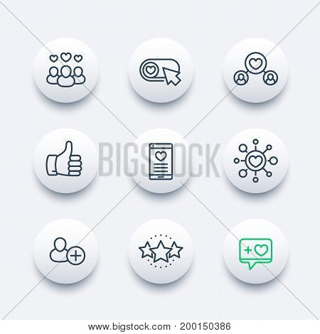 Likes, followers, hearts, rating icons set in line style