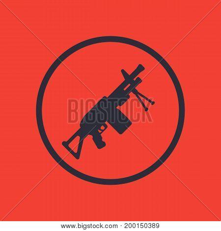Machine gun icon in circle, eps 10 file, easy to edit