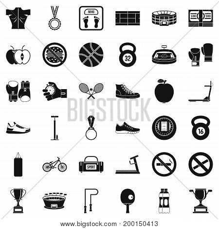 Hard boxing icons set. Simple style of 36 hard boxing vector icons for web isolated on white background