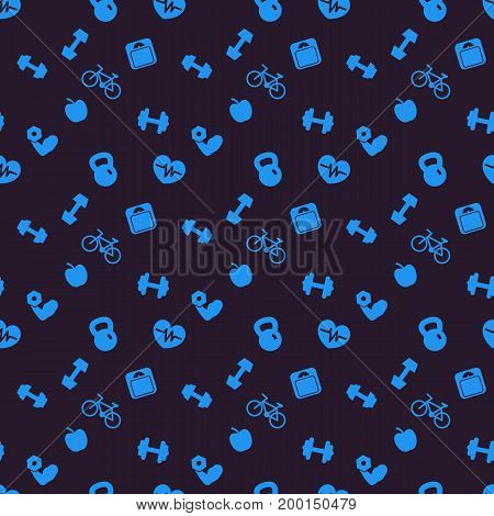 seamless pattern, background with fitness icons, eps 10 file, easy to edit