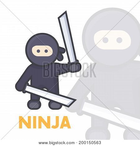 ninja with katana swords in hands, ancient japan warrior in flat style with outline