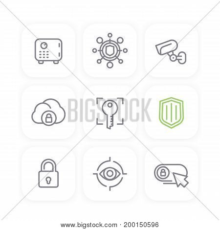 Security line icons set, secure cloud, key, lock, shield, strongbox, video surveillance, online security, safety