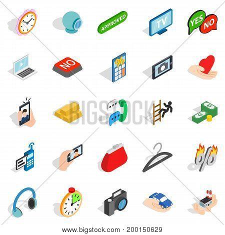 Mobile operator icons set. Isometric set of 25 mobile operator vector icons for web isolated on white background