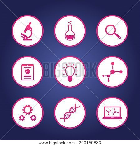 Science icons set, research, laboratory, survey, microscope, dna chain, lab glass, molecule