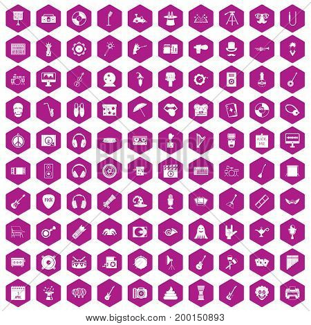 100 show business icons set in violet hexagon isolated vector illustration