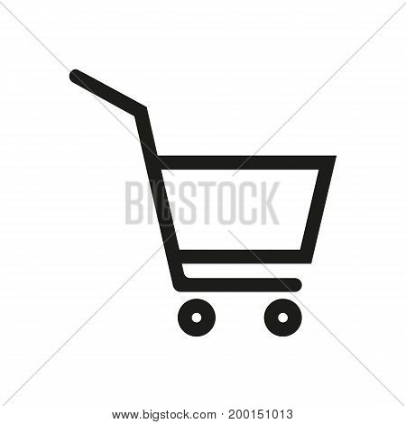 Simple icon of basket on wheels. Shopping cart, supermarket, consumer basket. Basket concept. Can be used for topics like shopping, consumerism, retail