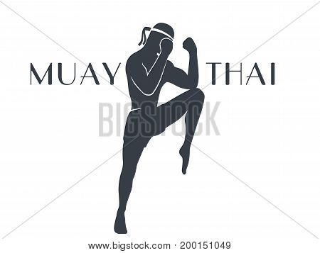 Muay thai athlete silhouette on white, male boxer in a defensive fighting stance, logo element, t-shirt print