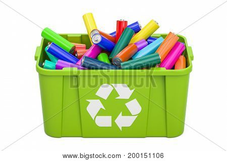 Batteries in recycling bin 3D rendering isolated on white background