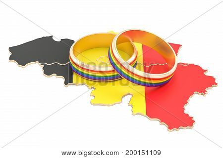 Belgian map with LGBT rainbow rings 3D rendering