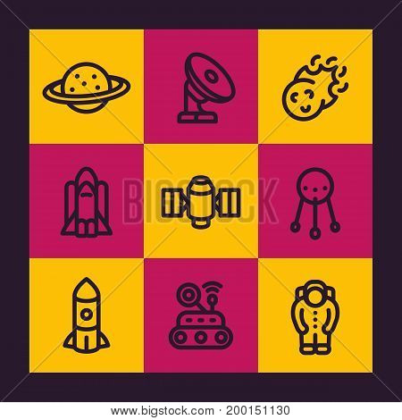 Space line icons set, planet, radio telescope, comet, astronaut, satellite, space probe, shuttle, spacesuit, vector illustration