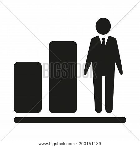 Simple icon of bar graph with businessman. Growth chart, promotion, career. Resources concept. Can be used for topics like business, management, personal development