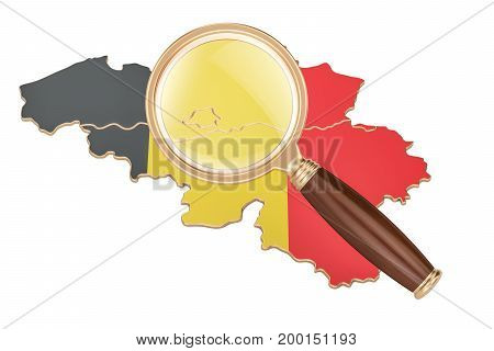 Belgium under magnifying glass analysis concept 3D rendering isolated on white background