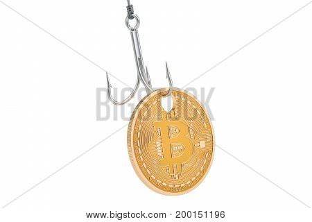 Bitcoin on the hook phishing concept. 3D rendering