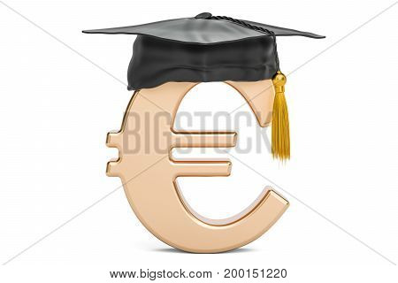 Euro symbol with graduation cap 3D rendering isolated on white background