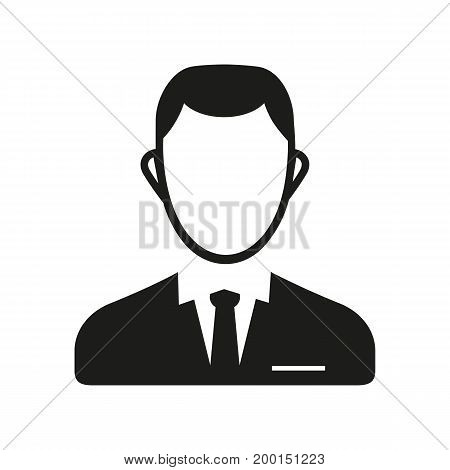 Simple icon of clerk. Businessman, manager, office worker. Resources concept. Can be used for topics like business, service, employment