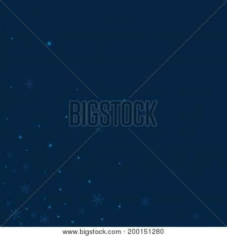 Sparse Glowing Snow. Scattered Bottom Left Corner On Deep Blue Background. Vector Illustration.