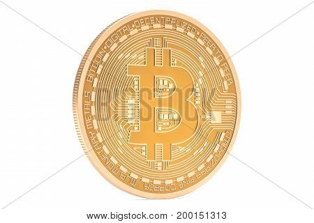 Golden Bitcoin closeup 3D rendering isolated on white background