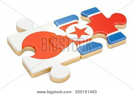 North Korea and Japan puzzles from flags 3D rendering isolated on white background