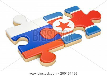 North Korea and Russia puzzles from flags 3D rendering isolated on white background