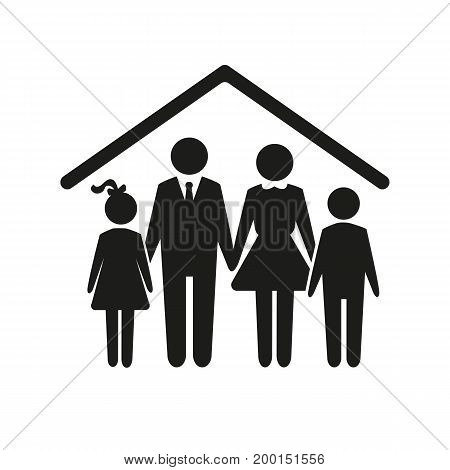 Simple icon of family of four under roof. Life assurance, real estate, mortgage. Insurance concept. Can be used for topics like business, family, construction