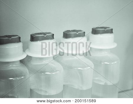 Physiological serum bottles for veterinary clinic patients