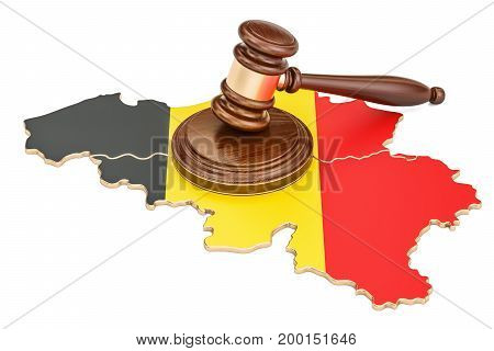 Wooden Gavel on map of Belgium 3D rendering isolated on white background