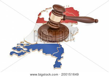 Wooden Gavel on map of Netherlands 3D rendering isolated on white background