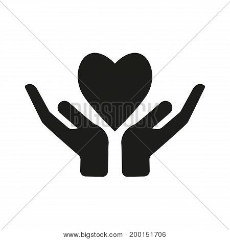 Simple icon of hand giving heart. Charity, feeling, support. Love concept. Can be used for topics like relationships, medicine, health
