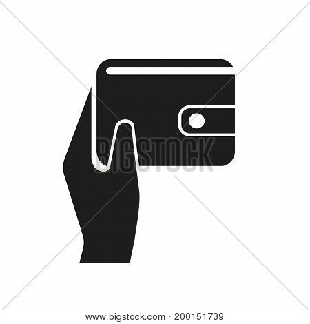 Simple icon of hand holding purse. Payment, cash, money. Basket concept. Can be used for topics like finance, business, shopping