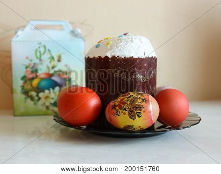 Festive Easter cake and the decorated eggs