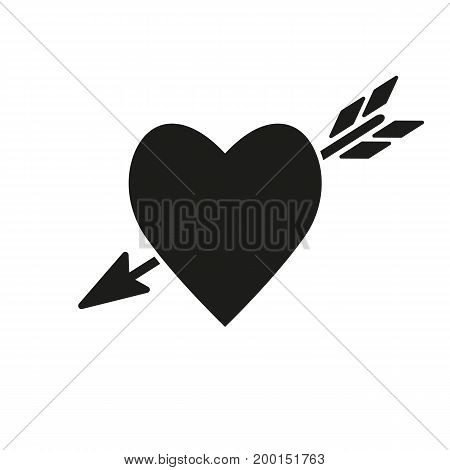 Simple icon of heart with arrow. In love, affection, passion. Love concept. Can be used for greeting cards, postcards, web pictograms