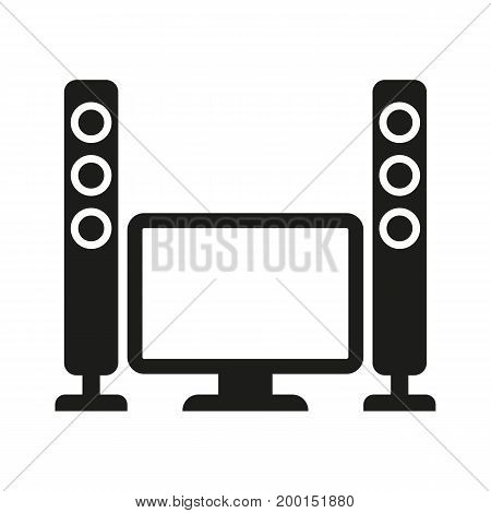 Simple icon of television set with speakers. Home cinema, stereo system, TV-set. Movie concept. Can be used for topics like entertainment, technology, leisure