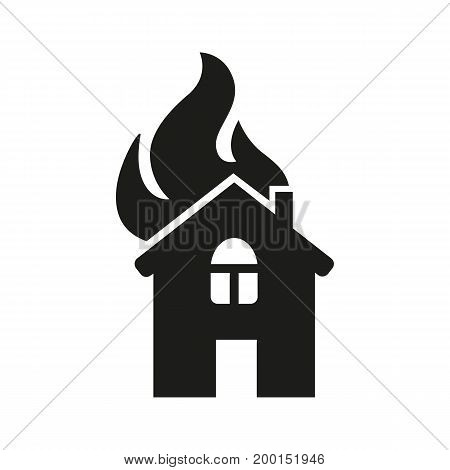 Simple icon of house on fire. Arson, disaster, conflagration. Insurance concept. Can be used for topics like business, fire safety, emergence