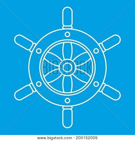 Ship wheel icon blue outline style isolated vector illustration. Thin line sign