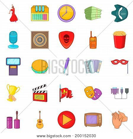 Musical performance icons set. Cartoon set of 25 musical performance vector icons for web isolated on white background