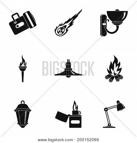 Lighting icon set. Simple style set of 9 lighting vector icons for web isolated on white background