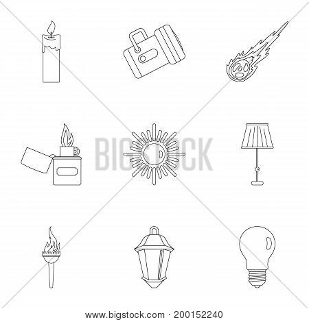 Light symbols icon set. Outline style set of 9 light symbols vector icons for web isolated on white background