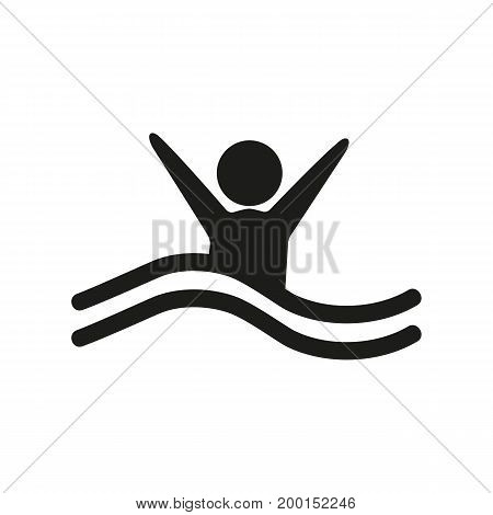 Simple icon of person sinking. Safety, high wave, accident. Insurance concept. Can be used for warning signs, information boards and pictograms